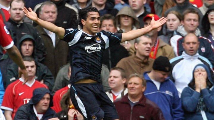 West Ham's Carlos Tevez celebrates after...