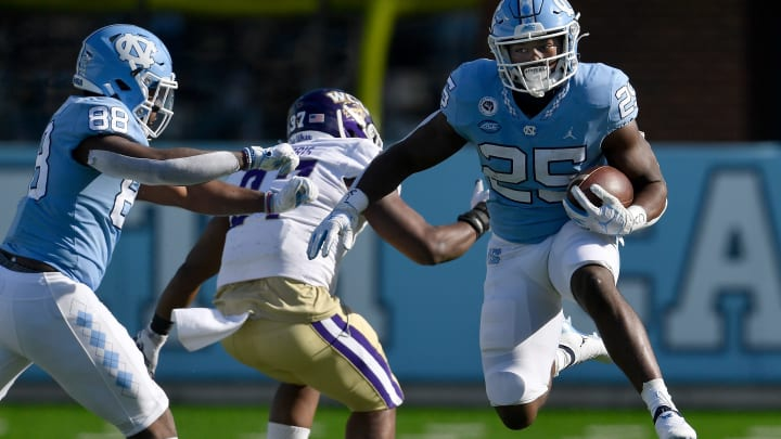 Three teams who will likely select North Carolina running back Javonte Williams in the upcoming 2021 NFL Draft.