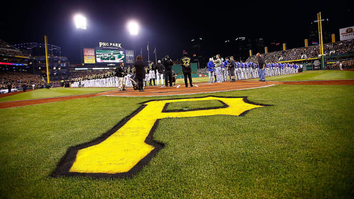 PITTSBURGH, PA - OCTOBER 07:  The Pittsburgh Pirates logo is seen on the field during the national anthem prior to the National League Wild Card game between the Pittsburgh Pirates and the Chicago Cubs at PNC Park on October 7, 2015 in Pittsburgh, Pennsylvania.  (Photo by Jared Wickerham/Getty Images)