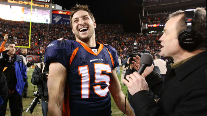 Tim Tebow laughing.