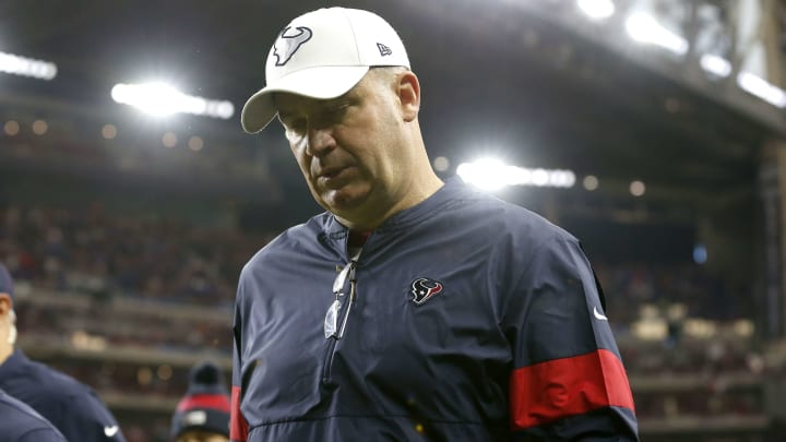Bill O'Brien leaves the field after the Houston Texans defeated the Buffalo Bills in the Wild Card Round