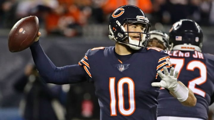 CHICAGO, IL - JANUARY 06:  Mitchell Trubisky #10 of the Chicago Bears passes against the Philadelphia Eagles during an NFC Wild Card playoff game at Soldier Field on January 6, 2019 in Chicago, Illinois. The Eagles defeated the Bears 16-15.  (Photo by Jonathan Daniel/Getty Images)