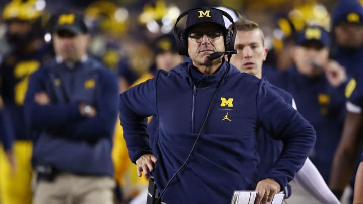 ANN ARBOR, MI - OCTOBER 13: Head coach Jim Harbaugh look on while playing the Wisconsin Badgers on October 13, 2018 at Michigan Stadium in Ann Arbor, Michigan. Michigan won the game 38-13. (Photo by Gregory Shamus/Getty Images)