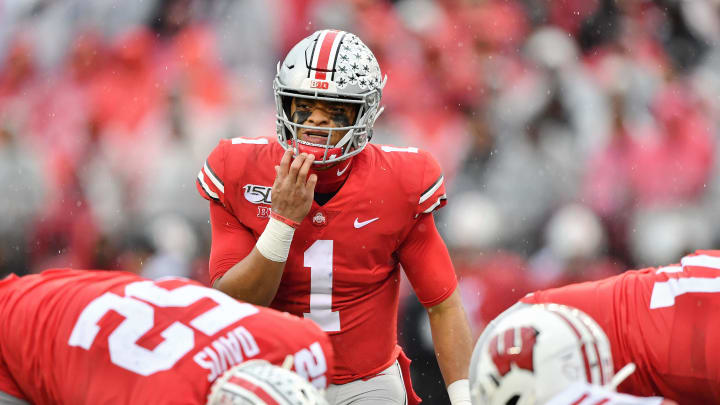 COLUMBUS, OH - OCTOBER 26:  Quarterback Justin Fields #1 of the Ohio State Buckeyes calls signals against the Wisconsin Badgers at Ohio Stadium on October 26, 2019 in Columbus, Ohio.  (Photo by Jamie Sabau/Getty Images)