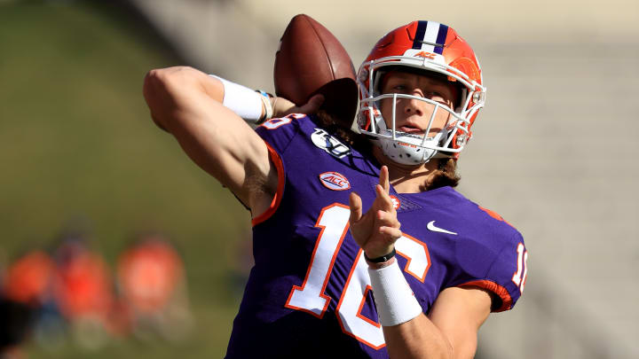 CLEMSON, SOUTH CAROLINA - NOVEMBER 02: Trevor Lawrence #16 of the Clemson Tigers warms up before their game against the Wofford Terriers at Memorial Stadium on November 02, 2019 in Clemson, South Carolina. (Photo by Streeter Lecka/Getty Images)
