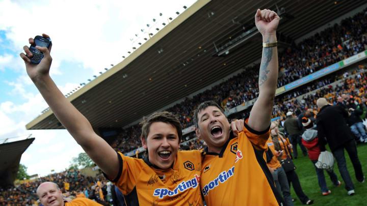 Wolverhampton Wanderers' fans celebrate