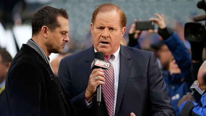 CLEVELAND, OH - OCTOBER 25:  Broadcaster Chris Berman of ESPN is seen on the field before Game One of the 2016 World Series between the Chicago Cubs and the Cleveland Indians at Progressive Field on October 25, 2016 in Cleveland, Ohio.  (Photo by Jamie Squire/Getty Images)