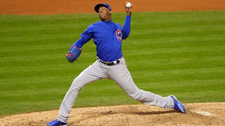 Aroldis Chapman played a critical role in the Cubs overcoming a 3-1 World Series deficit.