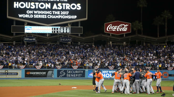 LOS ANGELES, CA - NOVEMBER 01: The Houston Astros celebrate defeating the Los Angeles Dodgers 5-1 in game seven to win the 2017 World Series at Dodger Stadium on November 1, 2017 in Los Angeles, California. (Photo by Jerritt Clark/Getty Images)