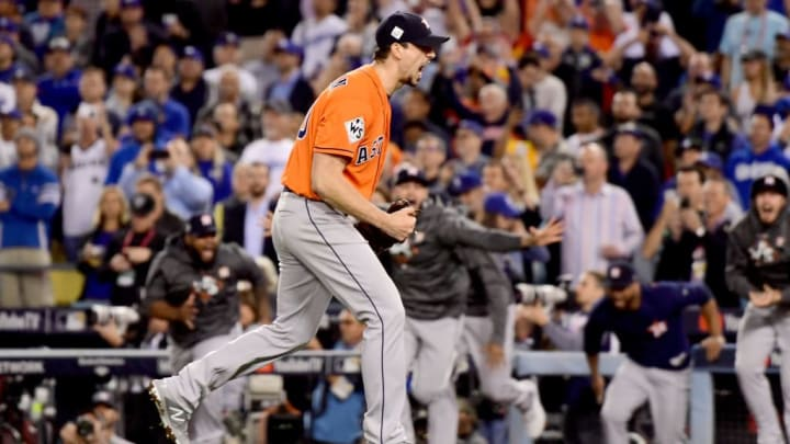 LOS ANGELES, CA - NOVEMBER 01:  Charlie Morton #50 of the Houston Astros celebrates after defeating the Los Angeles Dodgers in game seven with a score of 5 to 1 to win the 2017 World Series at Dodger Stadium on November 1, 2017 in Los Angeles, California.  (Photo by Harry How/Getty Images)