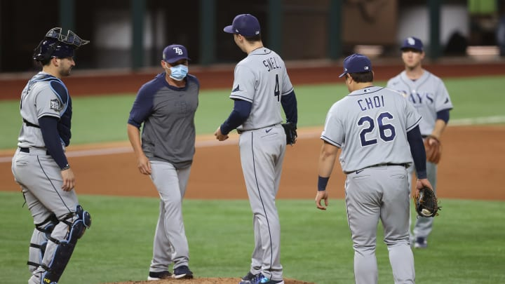Kevin Cash, Blake Snell, World Series - Tampa Bay Rays v Los Angeles Dodgers  - Game Six