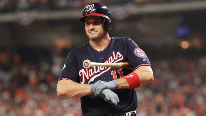 HOUSTON, TEXAS - OCTOBER 23:  Ryan Zimmerman #11 of the Washington Nationals looks on against the Houston Astros during the second inning in Game Two of the 2019 World Series at Minute Maid Park on October 23, 2019 in Houston, Texas. (Photo by Mike Ehrmann/Getty Images)