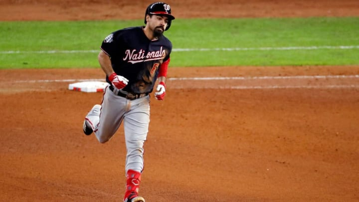 HOUSTON, TEXAS - OCTOBER 30:  Anthony Rendon #6 of the Washington Nationals hits a solo home run against the Houston Astros during the seventh inning in Game Seven of the 2019 World Series at Minute Maid Park on October 30, 2019 in Houston, Texas. (Photo by Tim Warner/Getty Images)