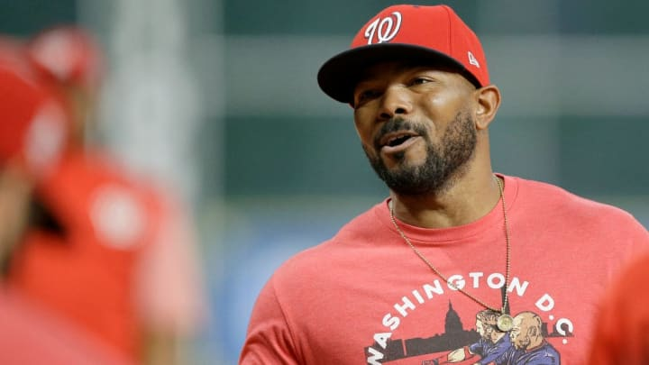 HOUSTON, TEXAS - OCTOBER 30:  Howie Kendrick #47 of the Washington Nationals looks on during batting practice prior to Game Seven of the 2019 World Series against the Houston Astros at Minute Maid Park on October 30, 2019 in Houston, Texas. (Photo by Bob Levey/Getty Images)