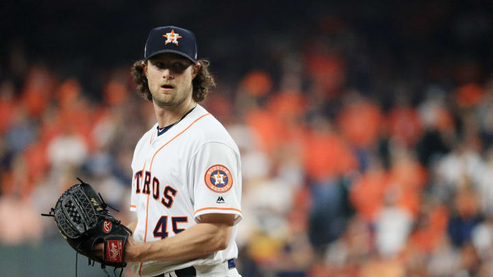 Gerrit Cole -- pictured here in World Series with Astros -- will meet with Yankees in free agency