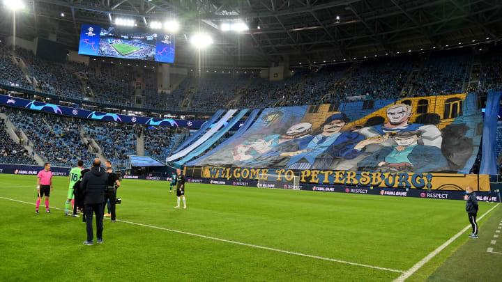 Die Gazprom Arena in St. Petersburg.