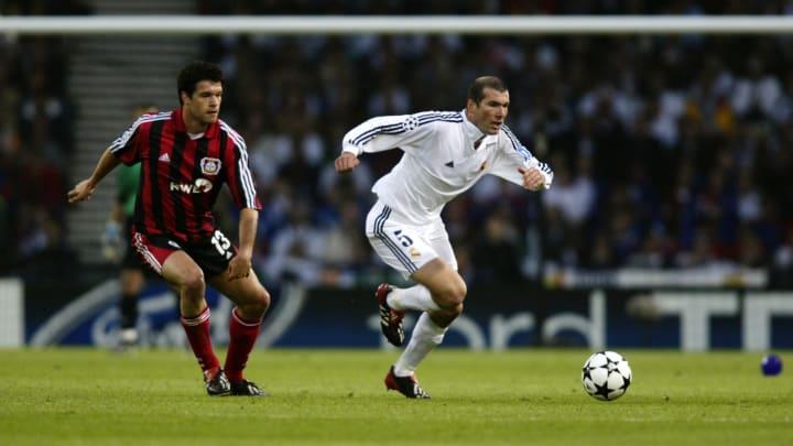 Zinedine Zidane of Real Madrid and Michael Ballack of Bayer Leverkusen