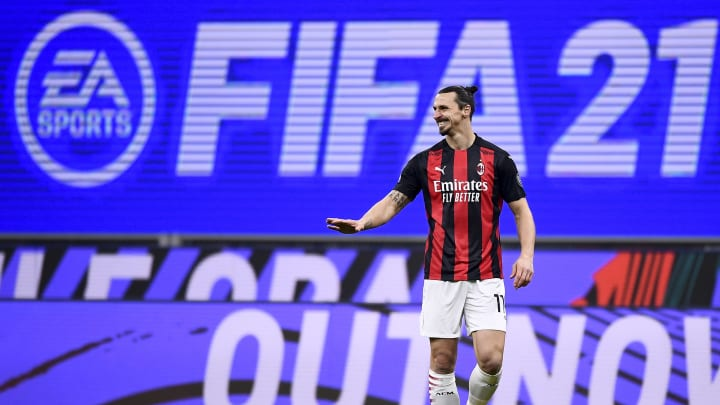 FIFA ou PES?   Zlatan Ibrahimovic of AC Milan reacts in front of a EA...
