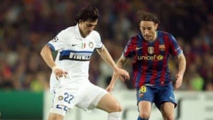 Los hermanos Milito durante el partido de vuelta de las semifinales de 2010 de la Copa de Europa