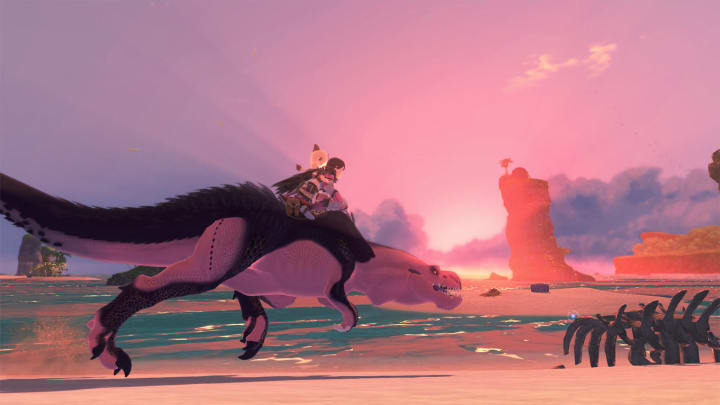 The protagonist of Monster Hunter Stories 2 riding atop an Anjanath