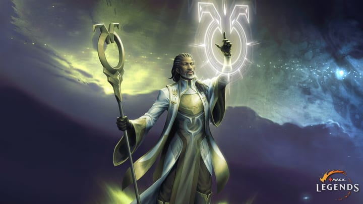 The Sanctifier is a white mana-aligned planeswalker that will be available in Magic: Legends at launch.