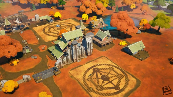 Aerial view of two crop circles located in Colossal Crops