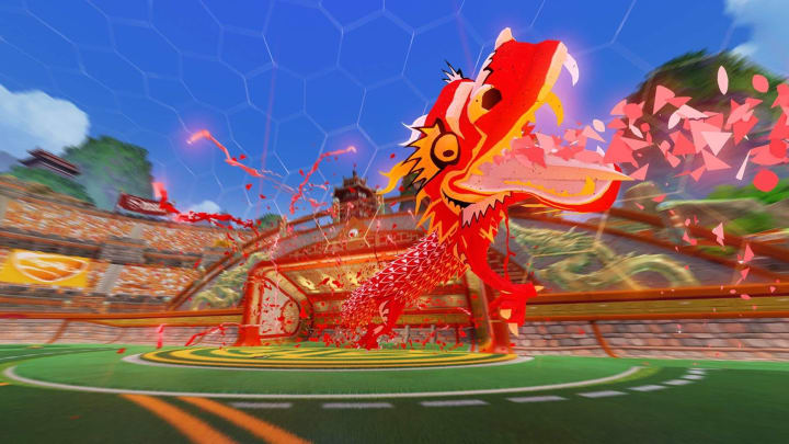 Rocket League Paper Dragon goal explosion from the Lucky Lanterns event