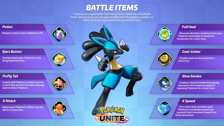 Battle Items in Pokemon UNITE