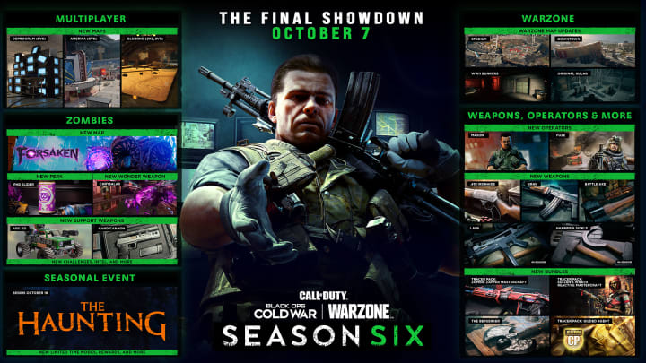 Season Six in Call of Duty: Black Ops Cold War and Warzone launches Oct. 7, 2021.