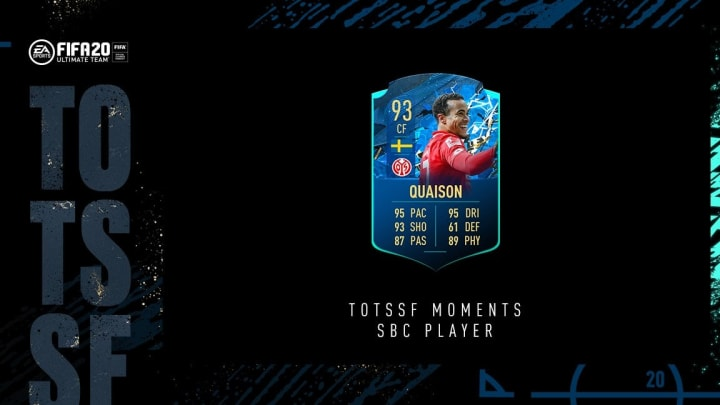Quaison is FIFA 20's latest TOTSSF Moments card recipient.