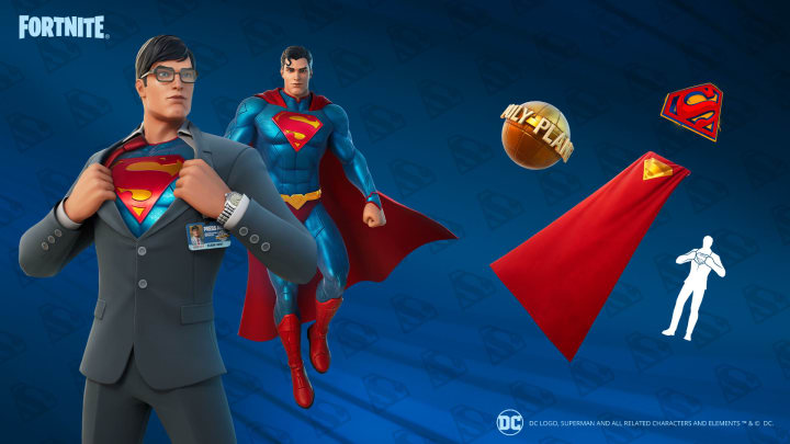 The Superman cosmetics now available through in-game challenges.