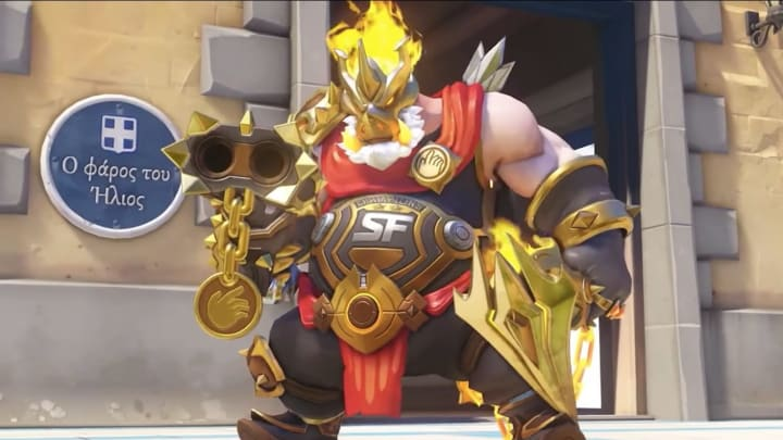 Overwatch developers unveil the SF Shock Midas Roadhog Skin during the second day of BlizzConline this weekend.