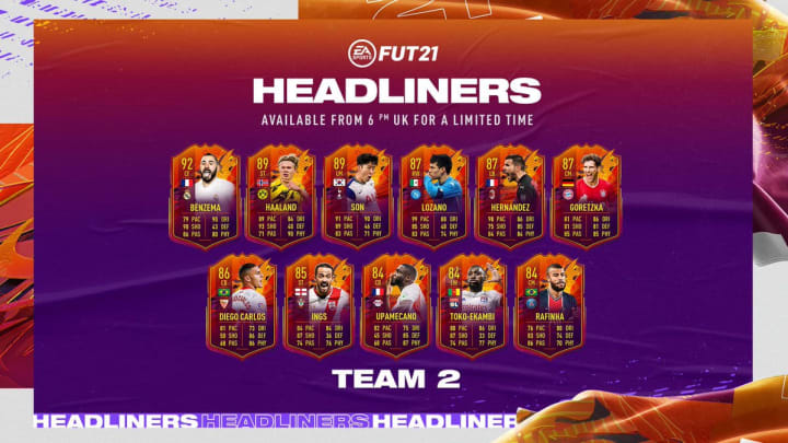 Headliners Team 2 is out now in FIFA 21 Ultimate Team.