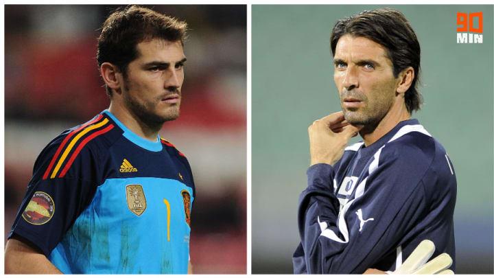 Iker Casillas et Gigi Buffon sous les couleurs de leur sélection.