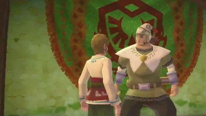 Link speaking with Eagus, a.k.a. the Knight Commander.