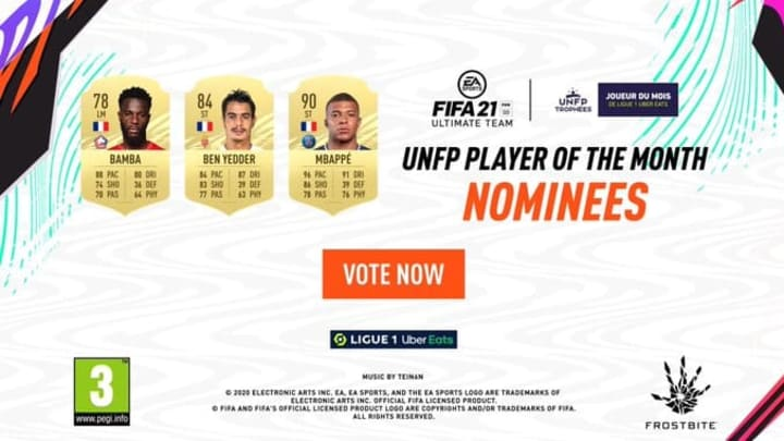 Kylian Mbappe leads the nominees for the October POTM in FIFA 21.