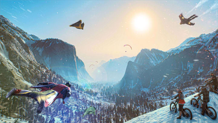 Riders Republic is a massive multiplayer playground where you can play with bikes, skis, snowboards, wingsuits and more in American national parks.