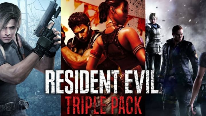 Capcom Resident Evil Triple Pack for the Nintendo Switch. Contains Resident Evil 4, Resident Evil 5, and Resident Evil 6