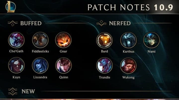 League of Legends Patch 10.9 notes were released Tuesday announced the end of Ranked Split 1.