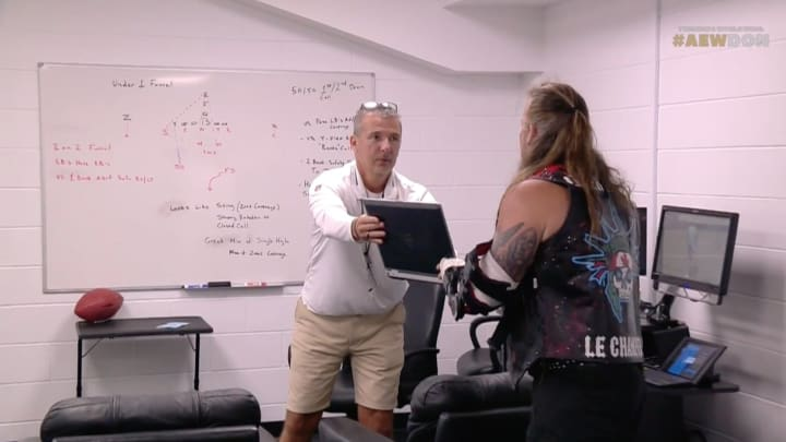 Urban Meyer and Chris Jericho at AEW in Jacksonville.