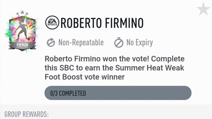 Roberto Firmino won the second fan vote during the FIFA 20 Summer Heat promotion.