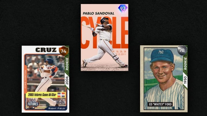 Earn Diamond Milestone Pablo Sandoval and Evolution rookies Nelson Cruz and Whitey Ford through the July Daily Moments program in MLB The Show 21.