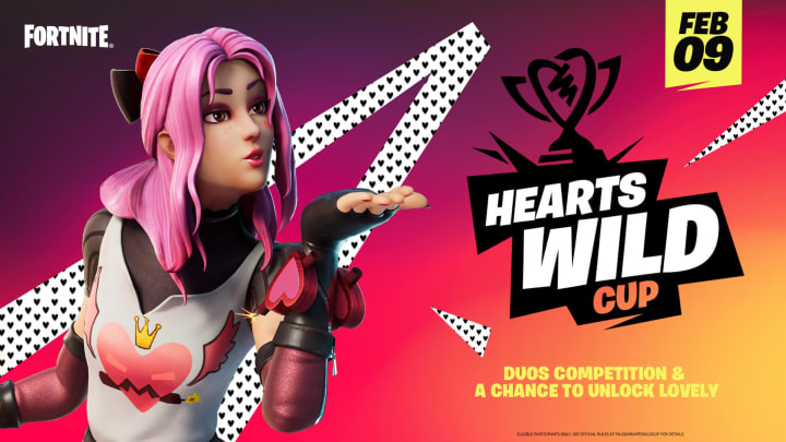 The new Hearts Wild Cup in Fortnite allows players to compete to win a Valentine's-themed outfit early.