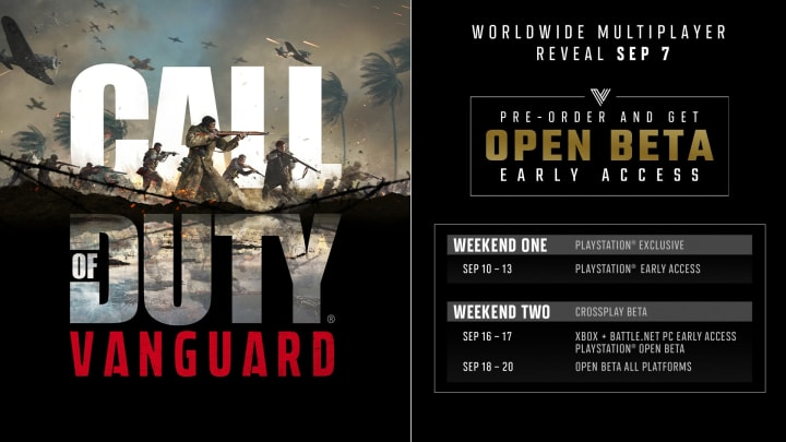 Weekend 1 of the Call of Duty: Vanguard Beta will kick off on Sept. 10, 2021.