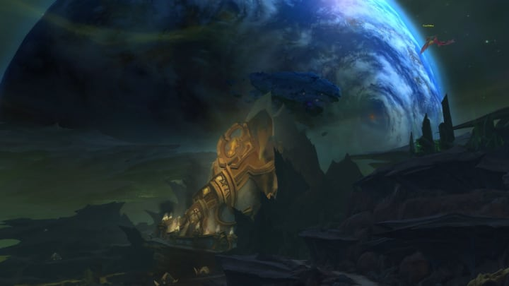 A shot from planet Argus with Azeroth in the background