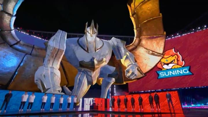 Virtual Galio at the League of Legends Worlds opening ceremony.