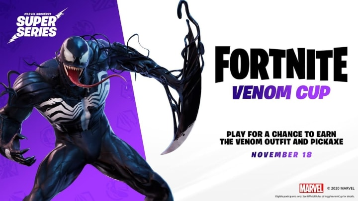 The Venom Cup, the finale of Fortnite's Marvel Knockout Super Series, takes place in two different sessions on Nov. 18.