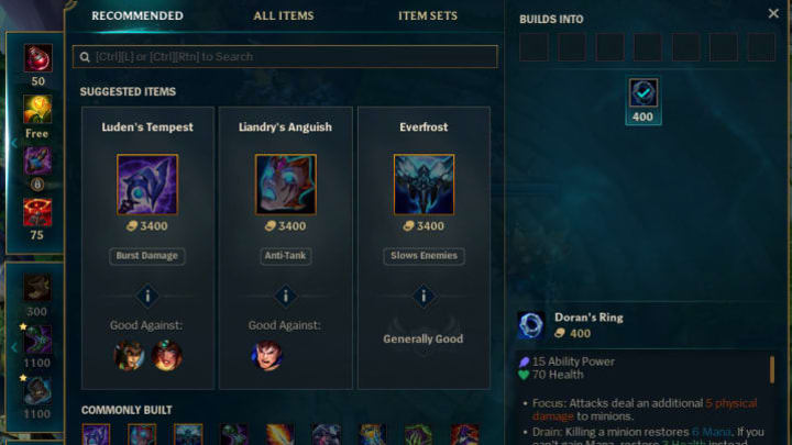 The new shop interface feels more modern and has powerful suggested itemization based on enemies.