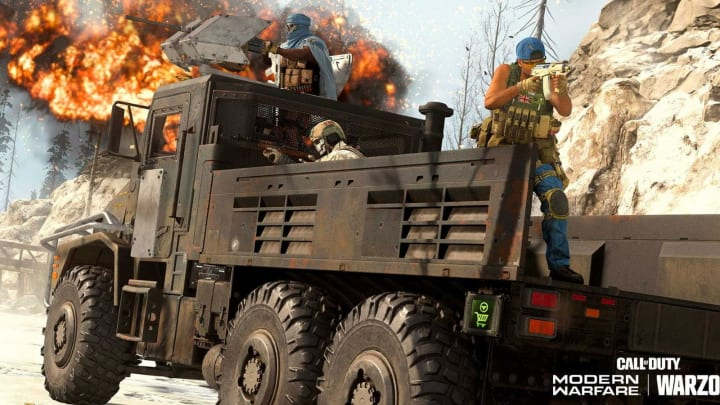 A squad riding the armored variant of the Cargo Trucks.