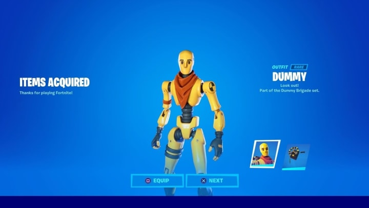 The Dummy Outfit is available in the Fortnite Store for a hefty price.